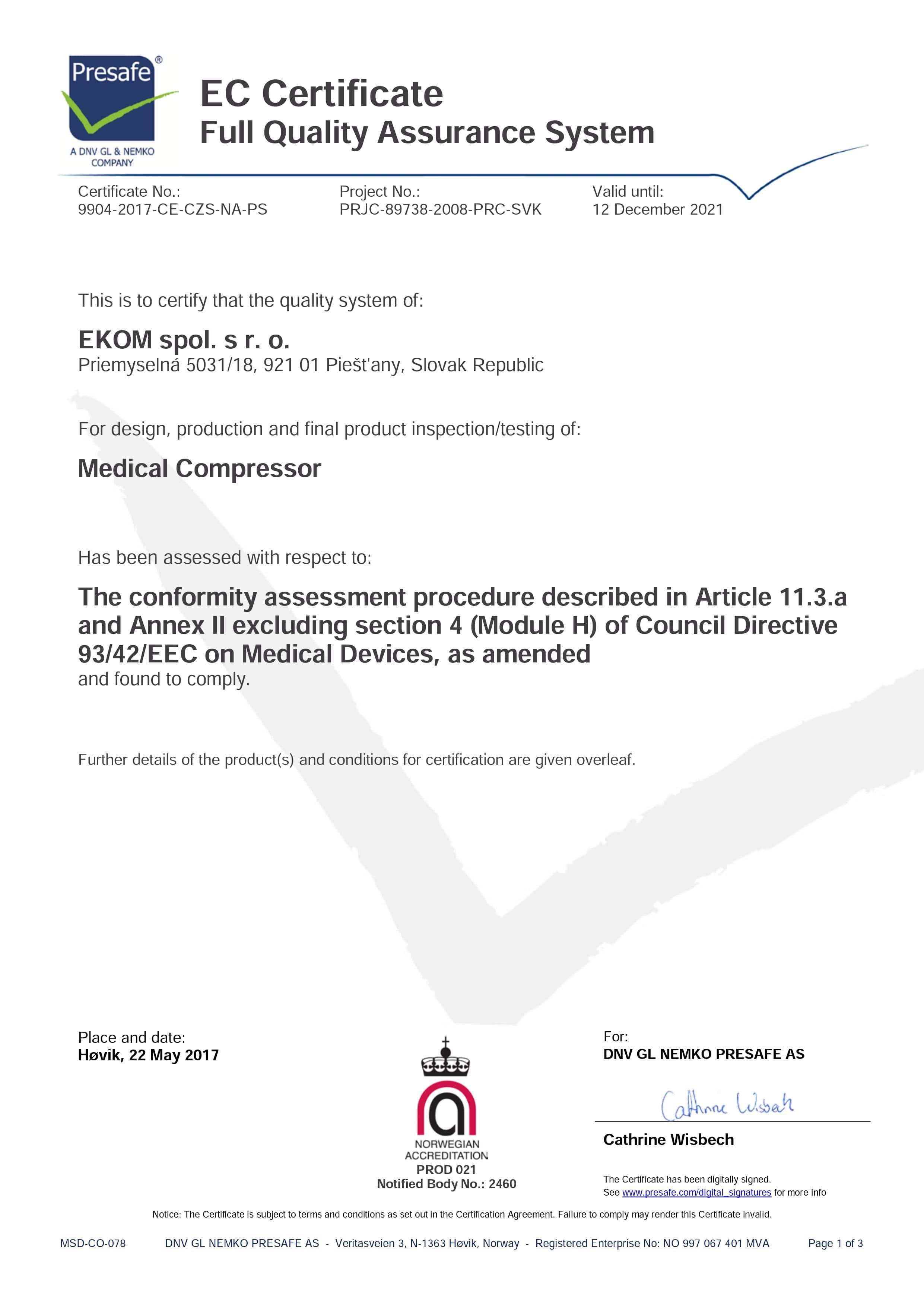Certyfikat EC EKOM medyczne kompresory