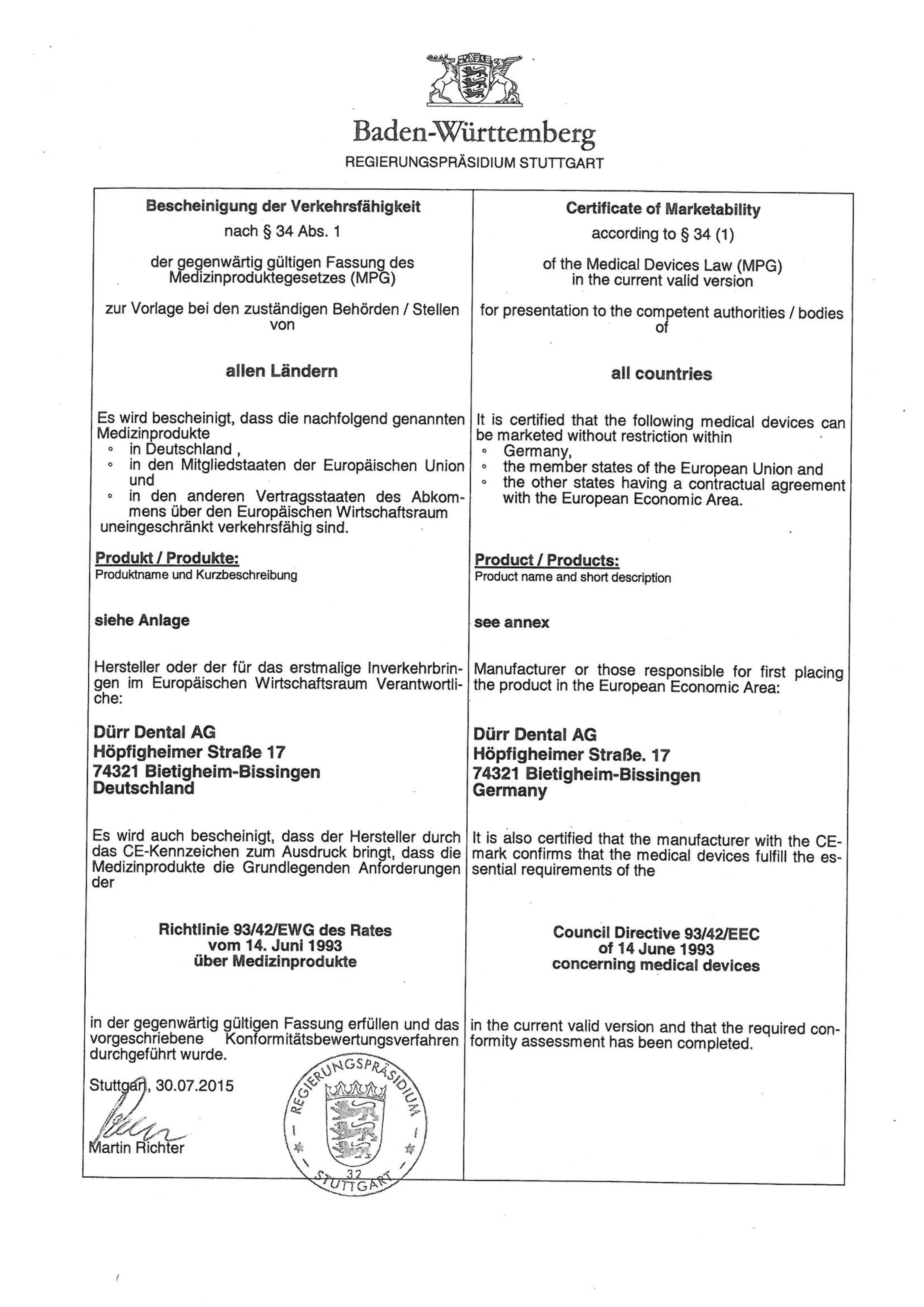 Certyfikat DURR DENTAL marka