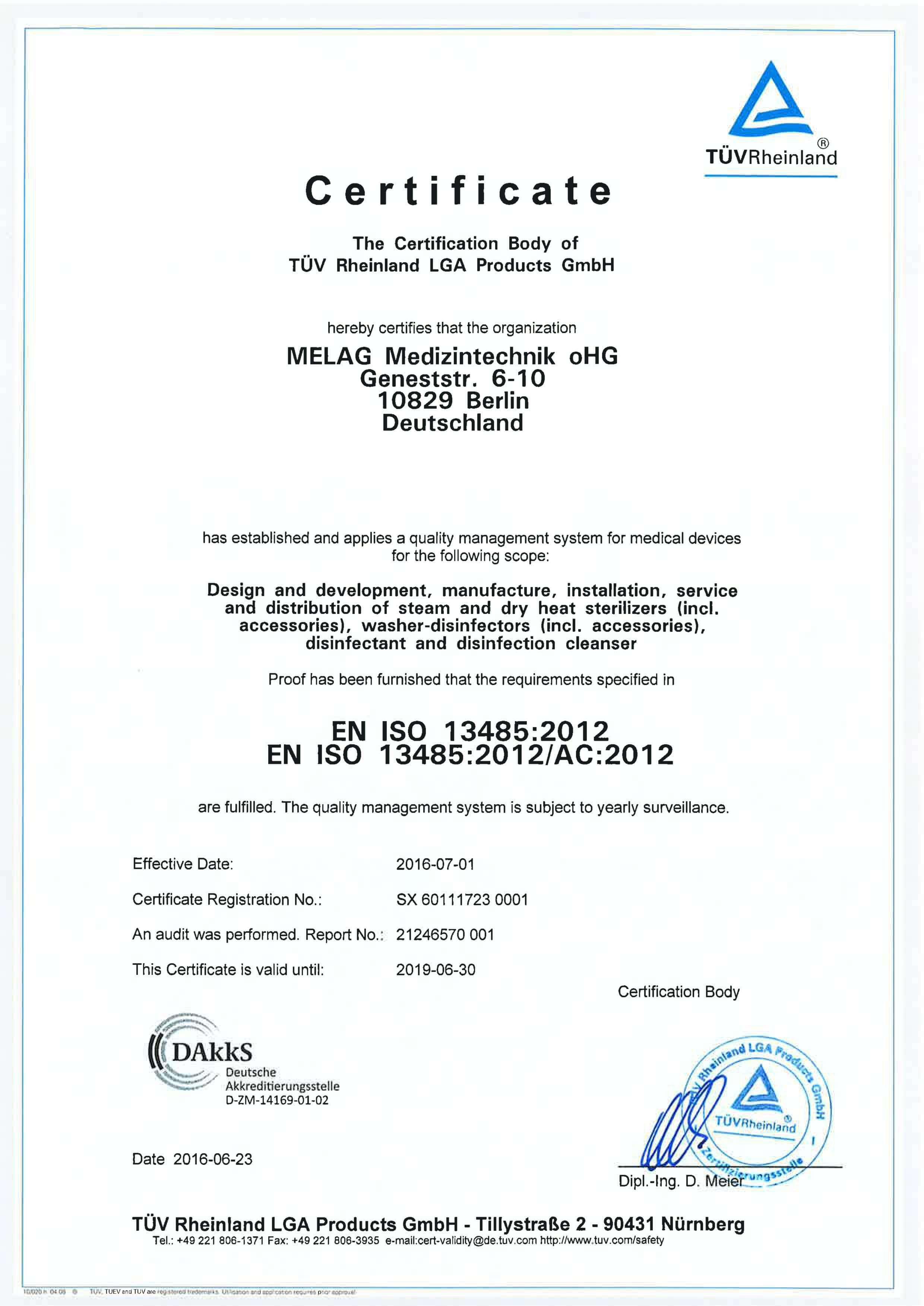 Certyfikat ISO Melag 4