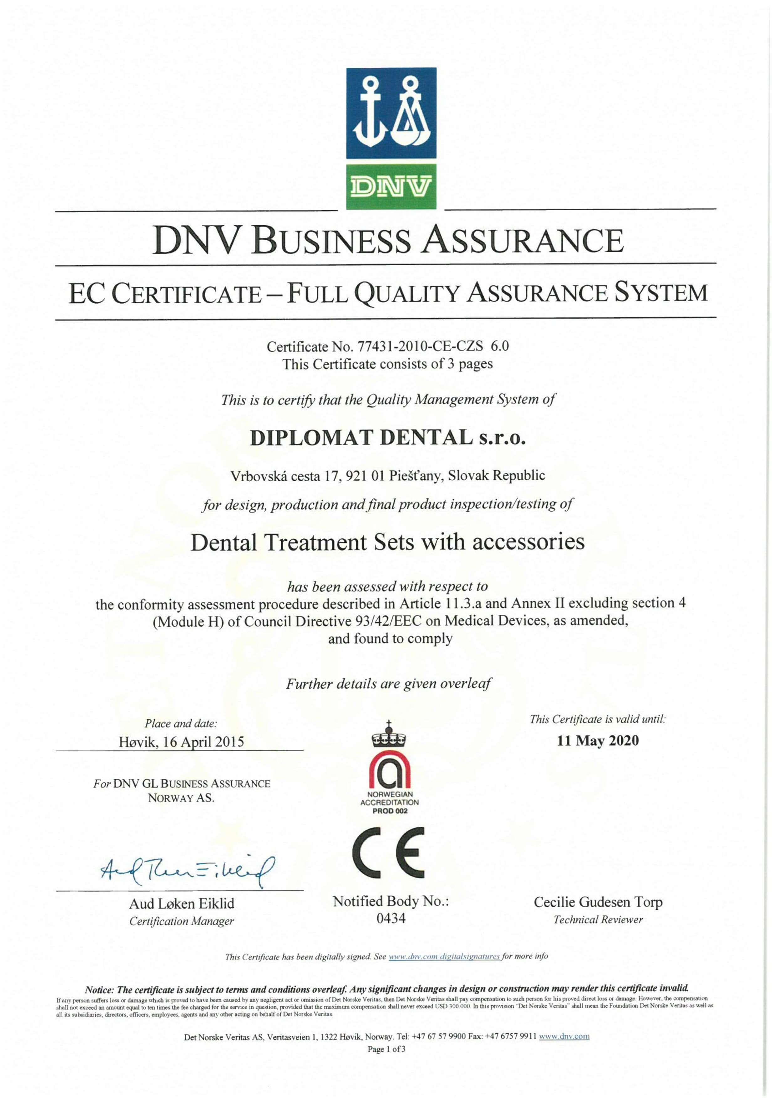 Certyfikat EC Diplomat Dental unity