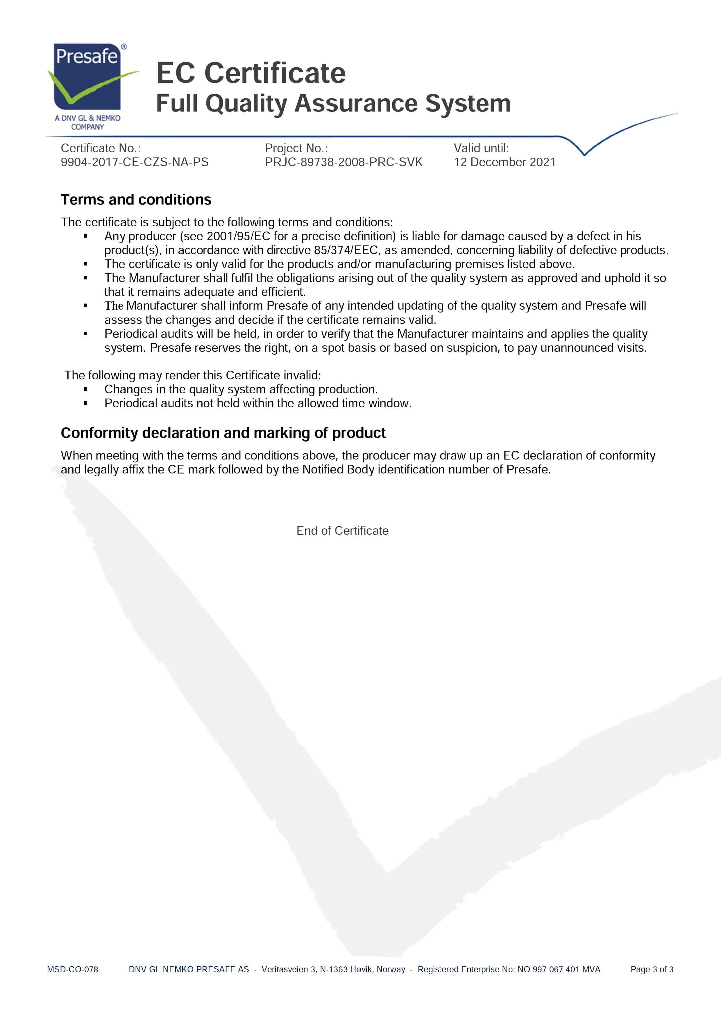 Certyfikat EC EKOM 2