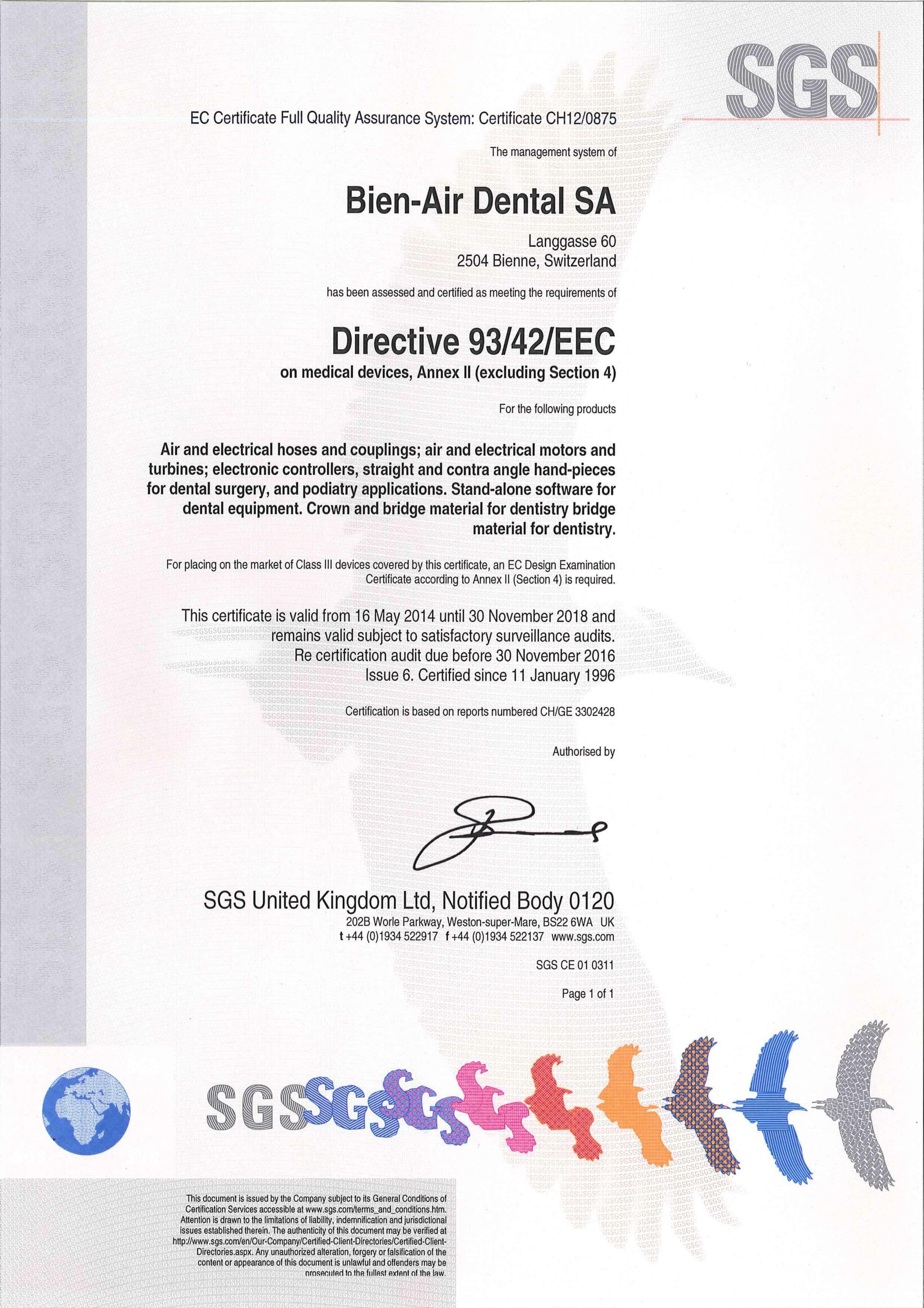 Certyfikat EEC Bien Air 2
