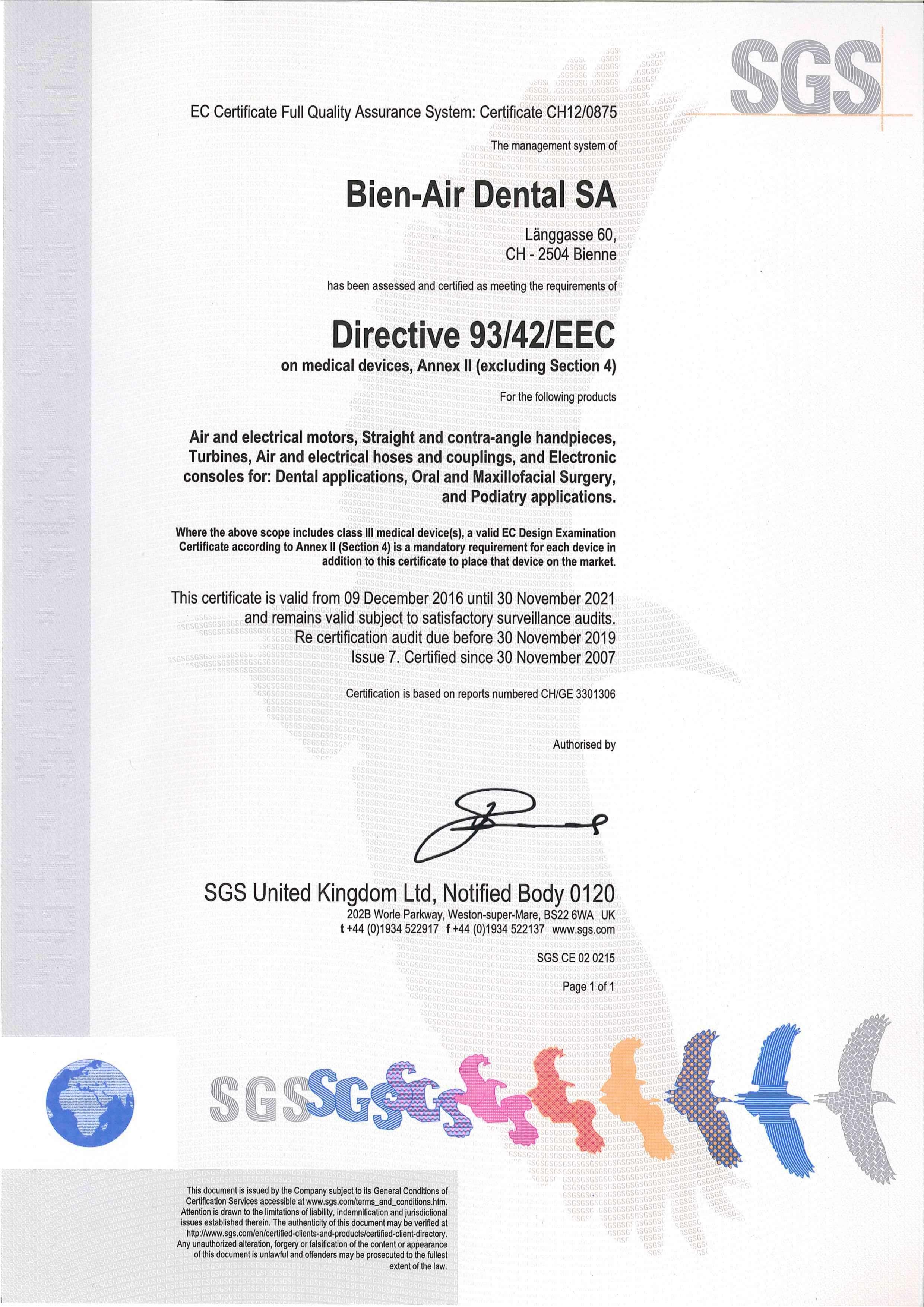 Certyfikat EEC Bien Air