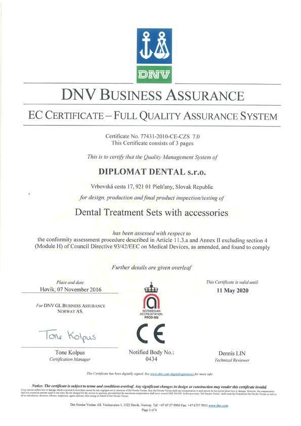 Certyfikat EC Diplomat Dental