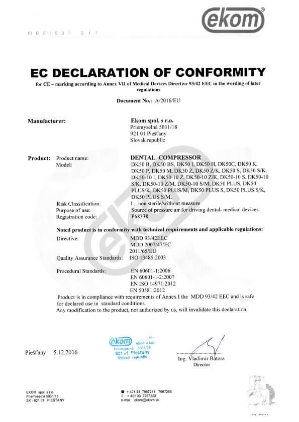 Certyfikat EC EKOM
