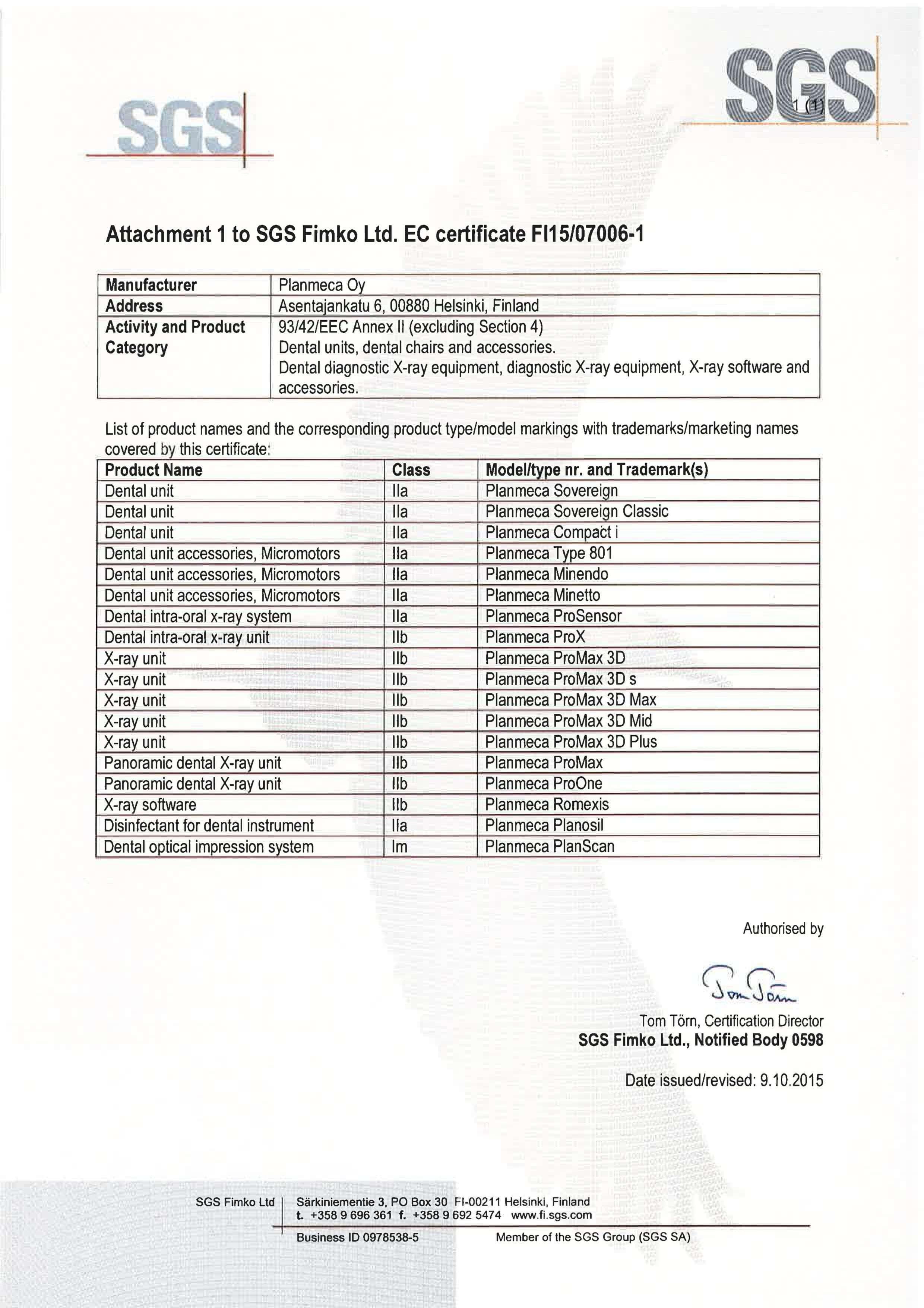 Certyfikat EEC Planmeca produkty