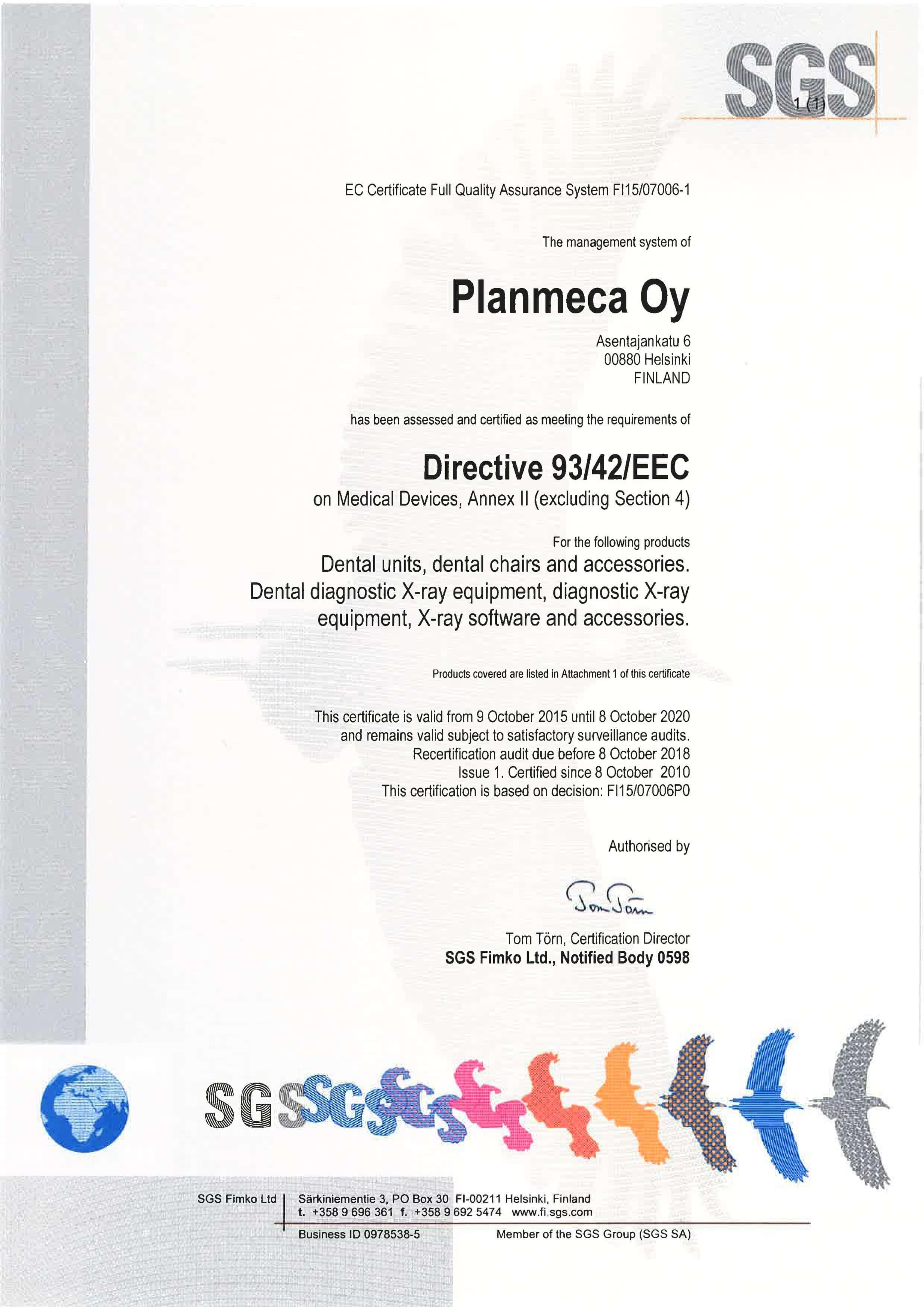 Certyfikat EEC Planmeca