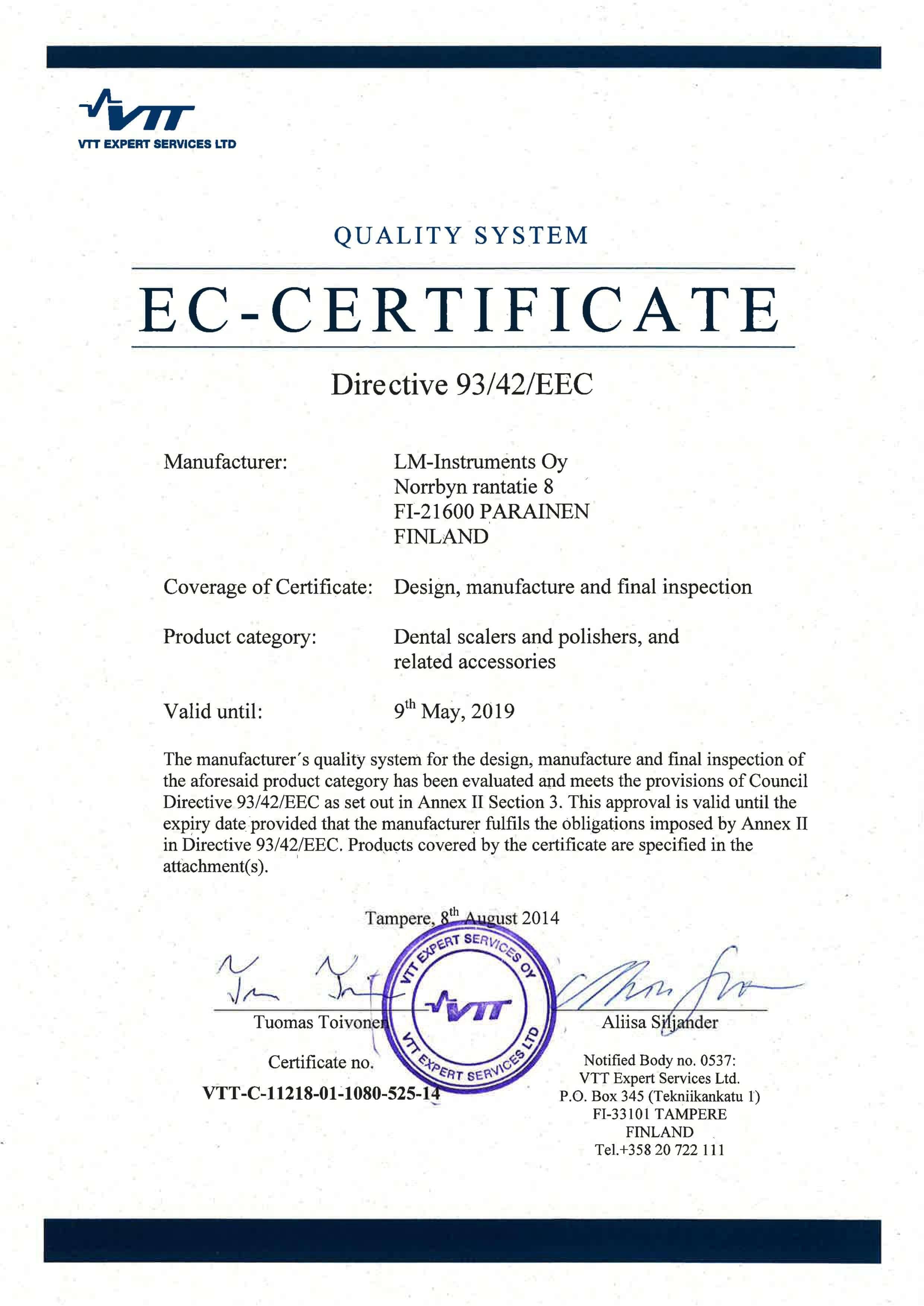 Certyfikat EC LM DENTAL