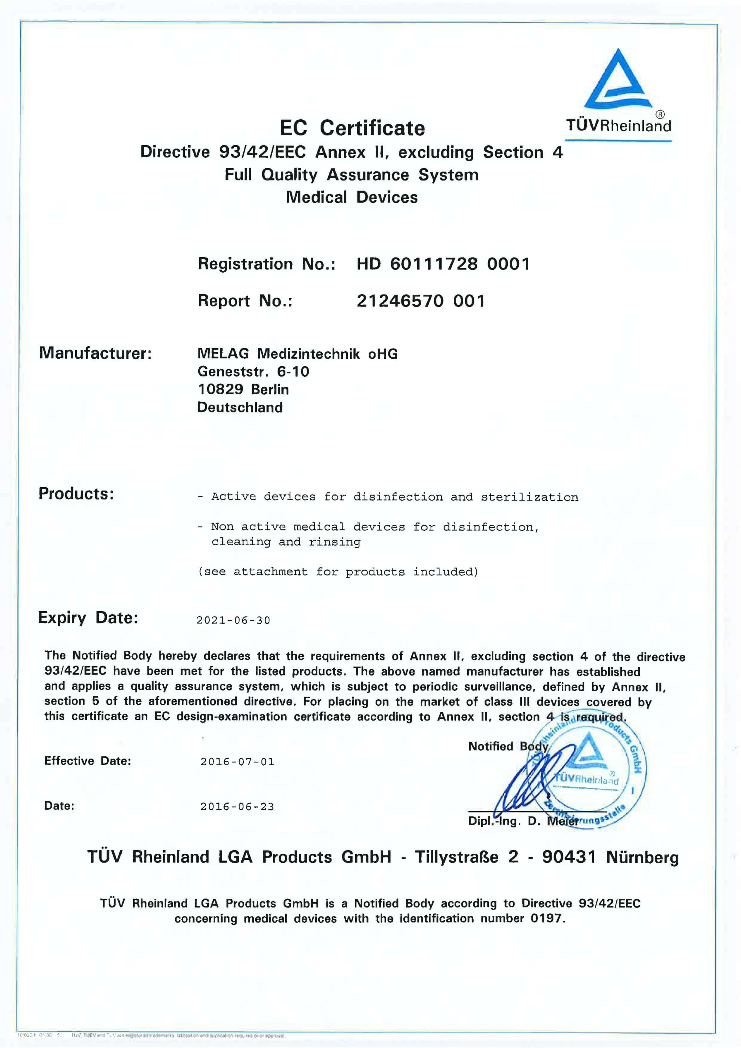 Certyfikat ISO Melag 3