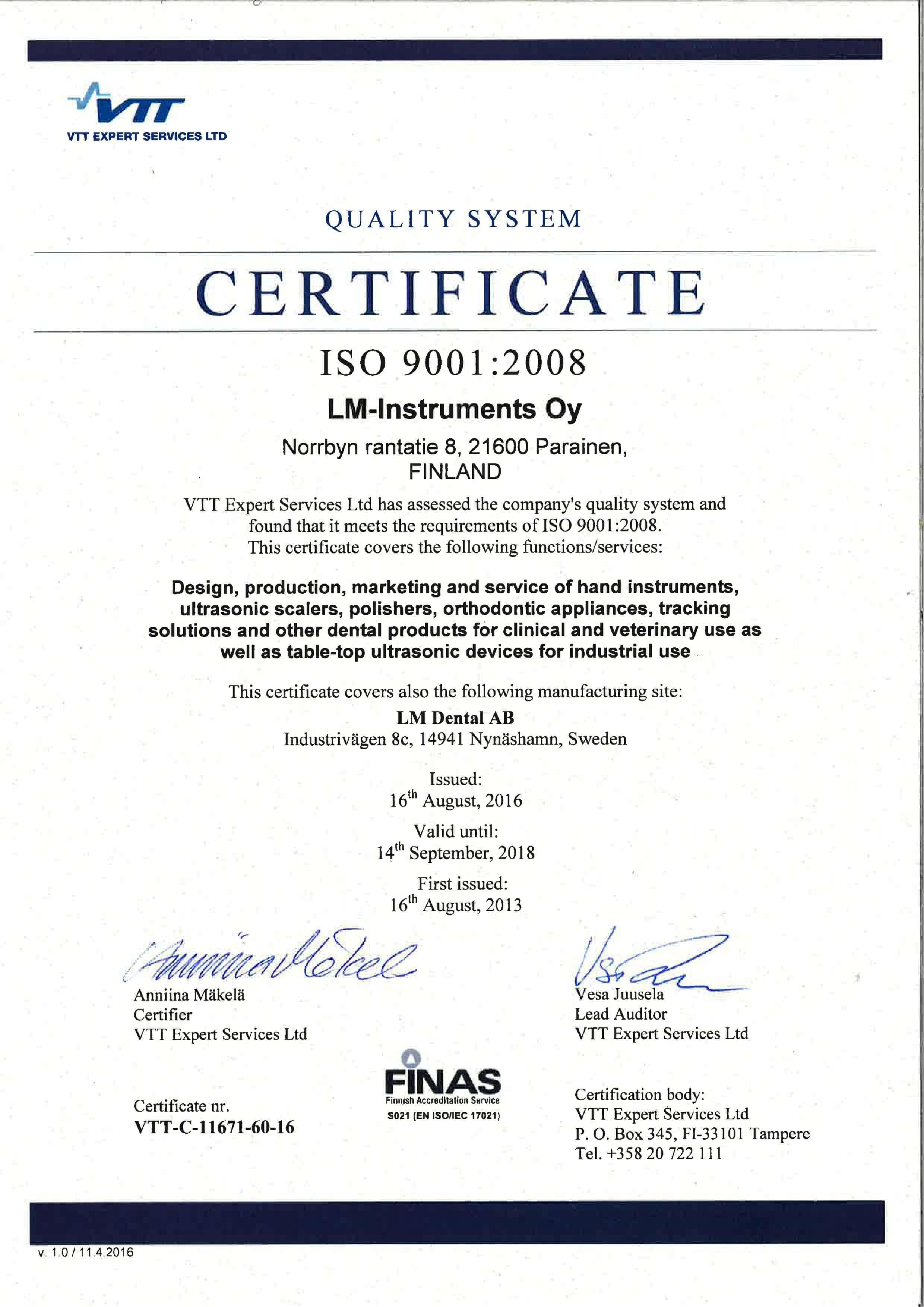 Certyfikat LM DENTAL 2