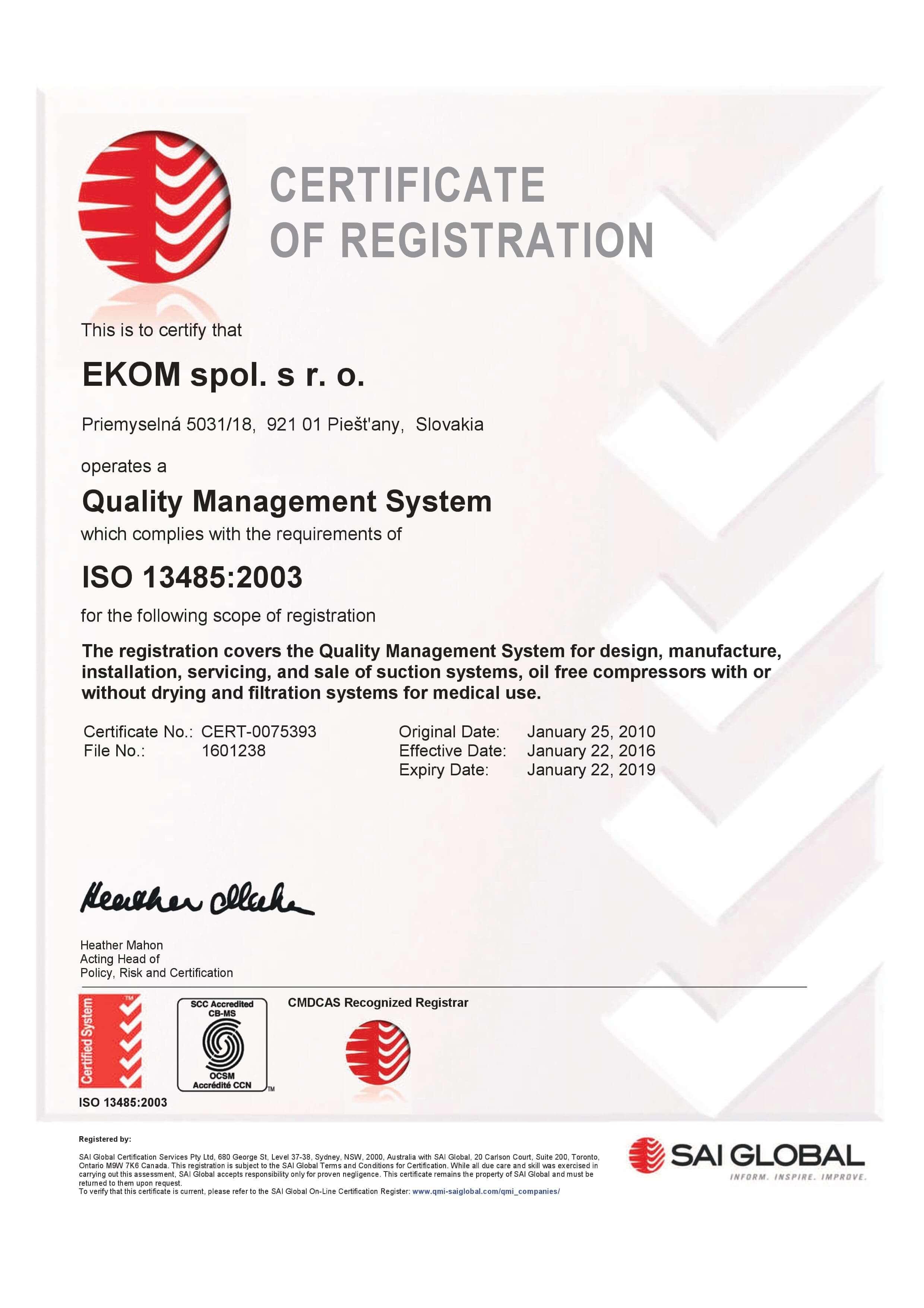 Certyfikat ISO EKOM