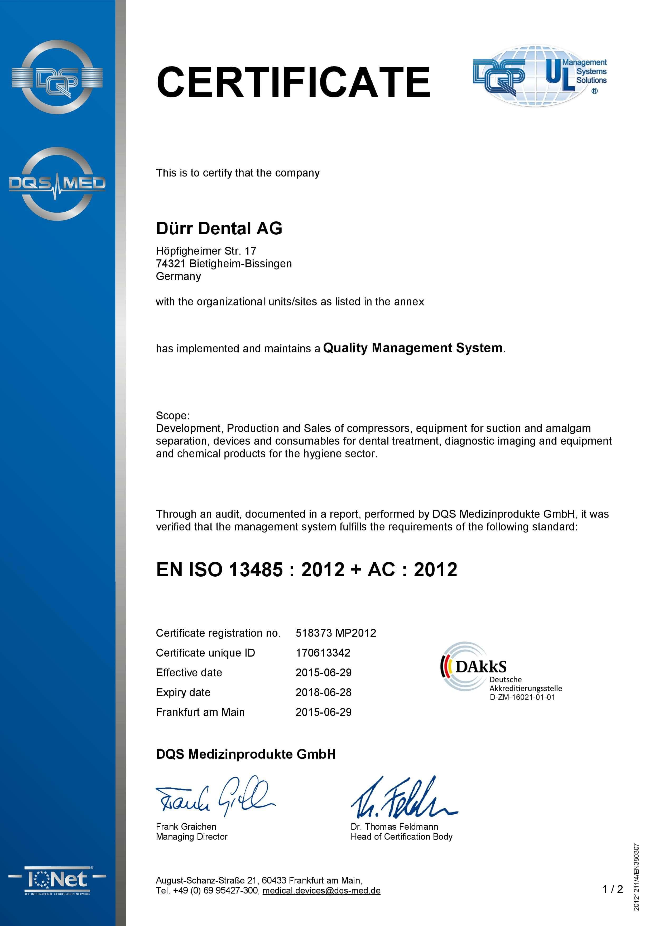 Certyfikat ISO DURR DENTAL