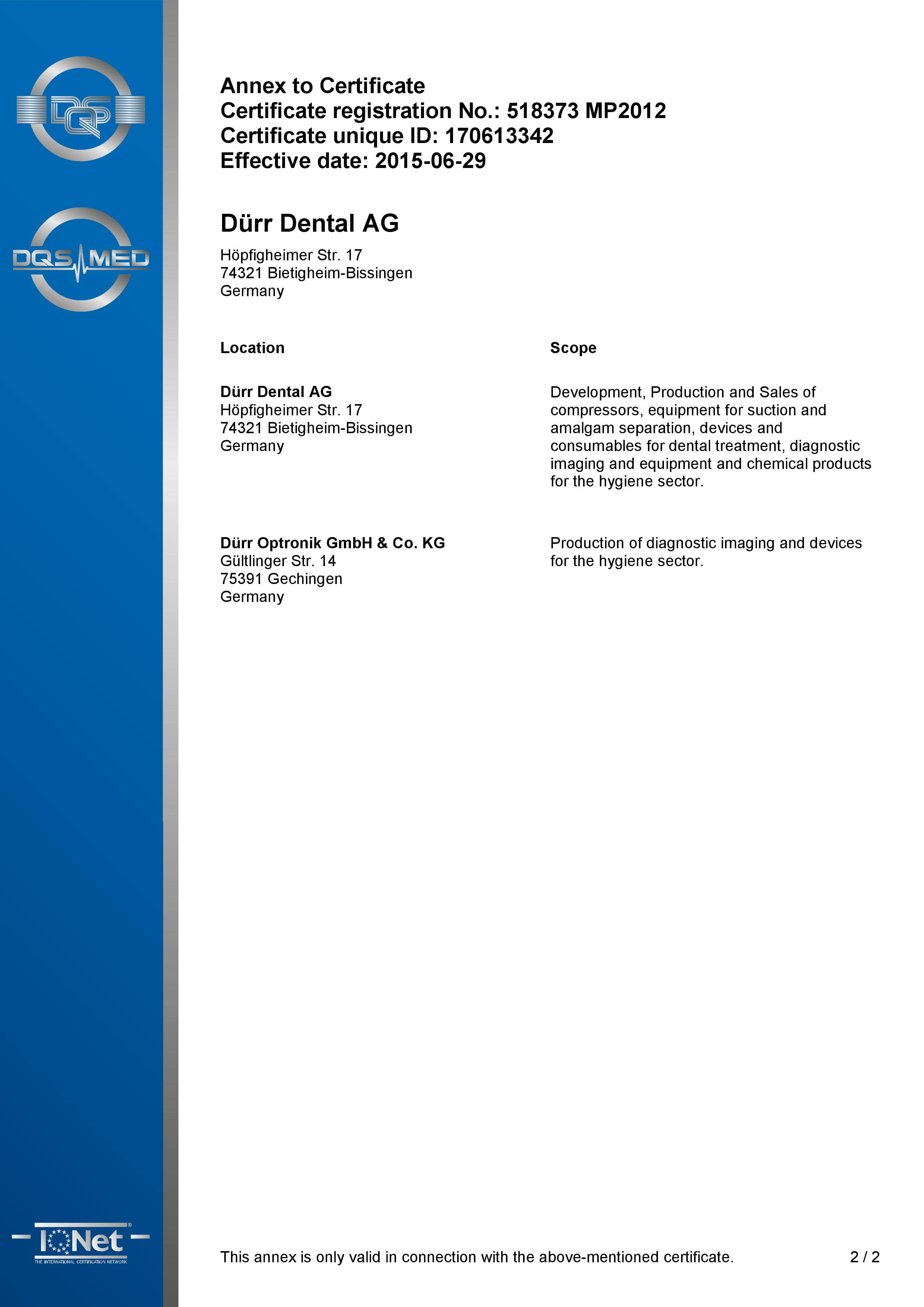 Certyfikat DURR DENTAL