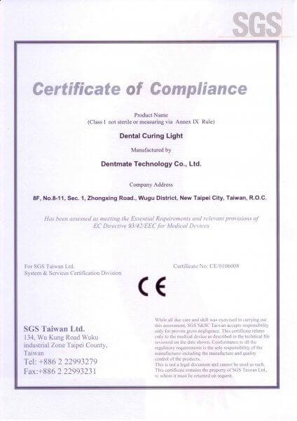 Certyfikat DENTMATE CE