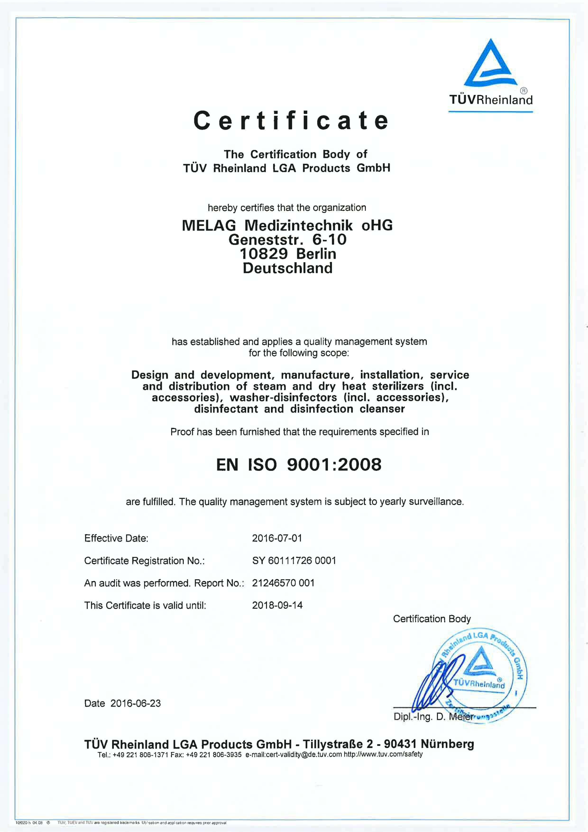 Certyfikat ISO Melag